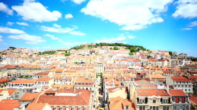 castle of sao jorge and alfama district in lisbon, portugal. - lisbon stock videos and b-roll footage