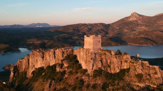 castle of zahara de la sierra at sunset - tower stock videos & royalty-free footage