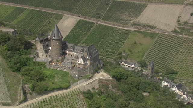 aerial castle on hilltop, rhineland-palatinate, germany - dungeon stock videos & royalty-free footage