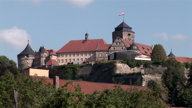 MS Castle on top of hill with strong defense walls / Kronach, Festung Rosenberg, Bavaria, Germany