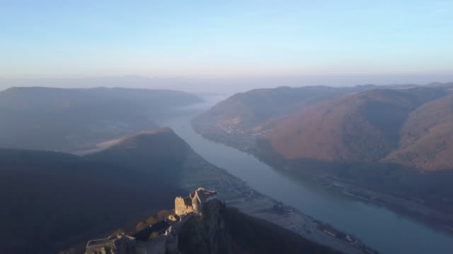 castle ruins of aggstein - wachau (aerial shot 4k) - river danube stock videos & royalty-free footage