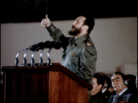 castro gives speech about building schools for cuba's children using marxist values - fidel castro stock videos and b-roll footage