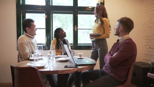 casual business meeting - business lunch stock videos & royalty-free footage