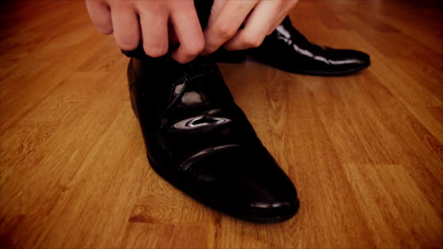 casual shoes lacing - leather shoe stock videos and b-roll footage