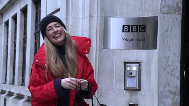 cat deeley arrives at bbc's wogan house to present her first bbc radio 2 breakfast show, replacing graham norton. - bbc radio stock videos & royalty-free footage
