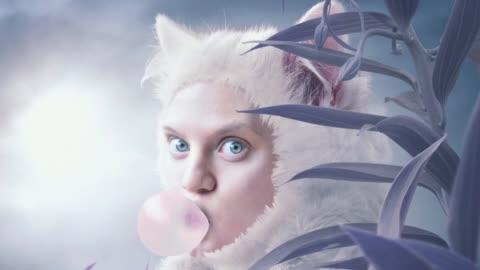 cat women - surrealism stock videos & royalty-free footage