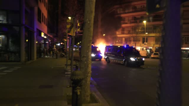 catalan autonomic riot police drive their cars between the garbage containers set them on fire by the protesters during a demonstration to protest... - human nervous system stock videos & royalty-free footage