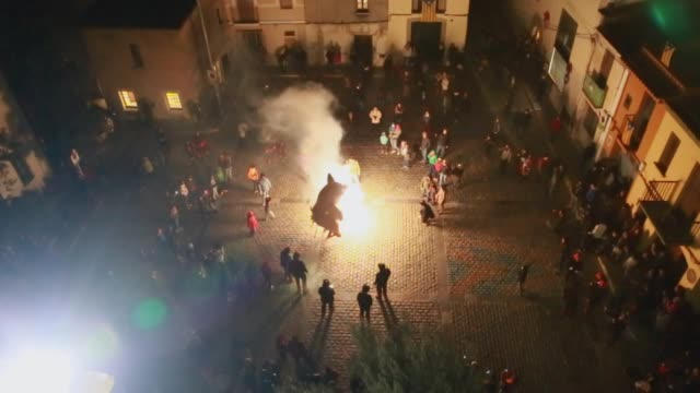 catalan correfocs festivity taken from elevated viewpoint at night. - pyrotechnic effects stock videos & royalty-free footage
