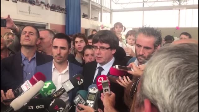 catalan president carles puigdemont speaks to the media about the catalan independence referendum at a sports center in in sant julia de ramis near... - independence stock videos & royalty-free footage
