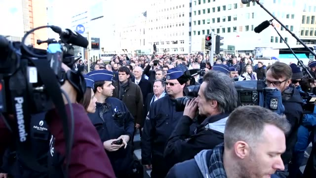 Catalan proindependence mayors demonstrate in support of detained officials in Spain on November 07 2017 in front of the European Commission building...