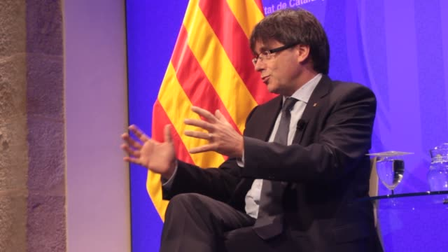 catalan regional president carles puigdemont speaks to foreign journalists during a proindependence demonstration as part of the celebrations of the... - september stock videos and b-roll footage