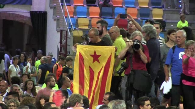 catalan separatists launch their campaign for a banned independence referendum in front of thousands of cheering supporters despite growing pressure... - separatism stock videos & royalty-free footage