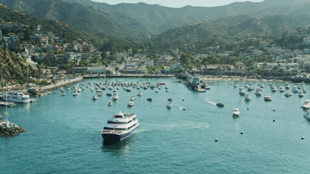 catalina express ferry leaving avalon bay - aerial view - channel islands california stock videos & royalty-free footage
