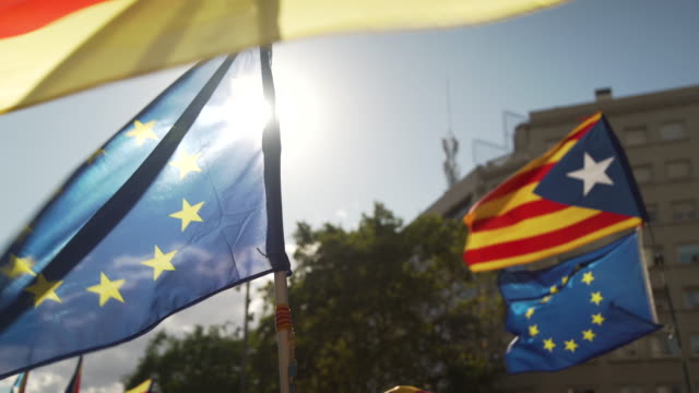 Catalonia and EU flags at demonstration for independence at Diada 2017