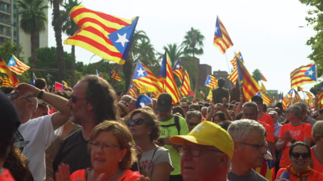Catalonia demonstration movement for the independence from Spain. Barcelona during 11 september 2018, Catalan National Day