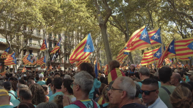 catalonia demonstration movement for the independence from spain. barcelona during 11 september 2018, catalan national day - tradition stock videos & royalty-free footage