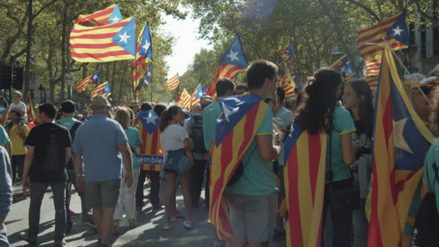 catalonia demonstration movement for the independence from spain. barcelona during 11 september 2019 at barcelona. catalan national day - referendum stock videos & royalty-free footage