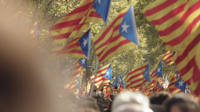 catalonia demonstration movement for the independence from spain. barcelona during 11 september 2018, catalan national day - identity politics stock videos & royalty-free footage