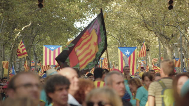 catalonia demonstration movement for the independence from spain. barcelona during 11 september 2019 at barcelona. catalan national day - identity politics stock videos & royalty-free footage