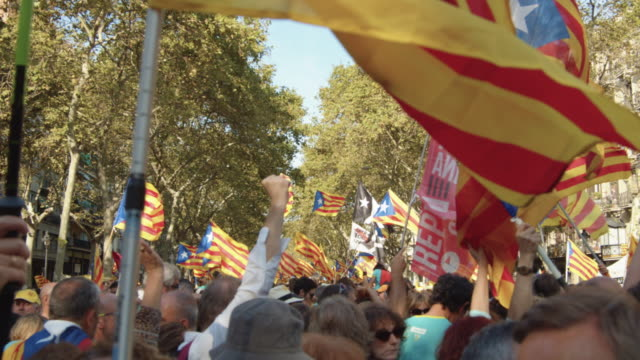 catalonia demonstration movement for the independence from spain. barcelona during 11 september 2018, catalan national day - referendum stock videos & royalty-free footage