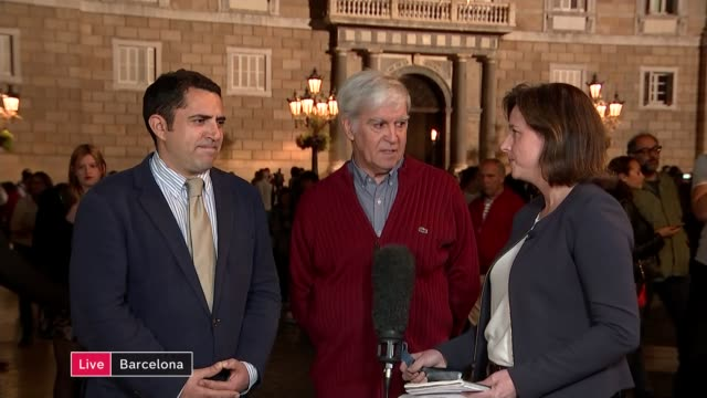 Deposed Catalan president calls for peaceful resistance to direct rule LIVE SPAIN Barcelona Michael Strubell and Carlos Rivadulla interview SOT