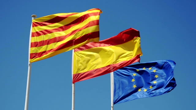 catalonia, spain and europe flags - three objects stock videos & royalty-free footage
