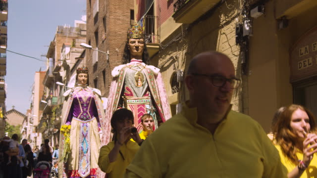 Catalonia traditional celebration with Gegants in a Gracia district street