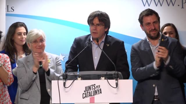 catalonia's former separatist president carles puigdemont who fled spain in 2017 after a failed secession bid and his exdeputy oriol junqueras... - former stock videos and b-roll footage