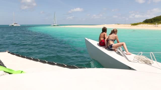 catamaran approaching Buck Island