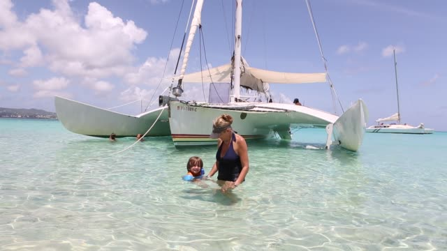 catamaran approaching buck island - sun visor stock videos & royalty-free footage