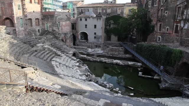 catania, view of the roman theater, 1st century a.d. on an early greek theater - old ruin stock videos & royalty-free footage