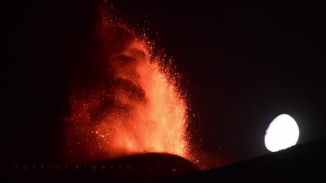 catania-based photographer captured mesmerizing footage of volcanic activity from mount etna as the moon set on june 21. there had been... - https stock videos & royalty-free footage