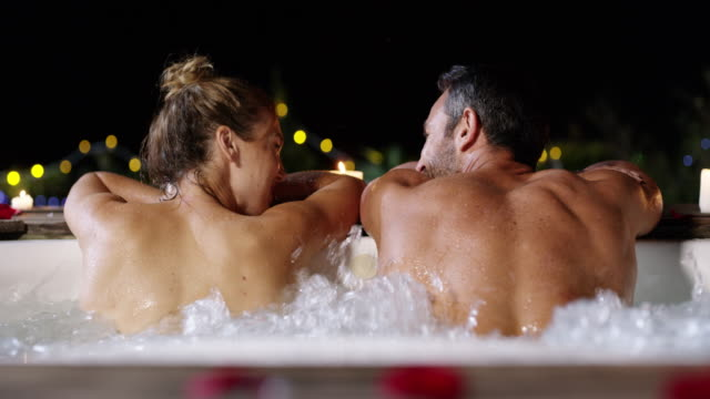 Catching up in the hot tub