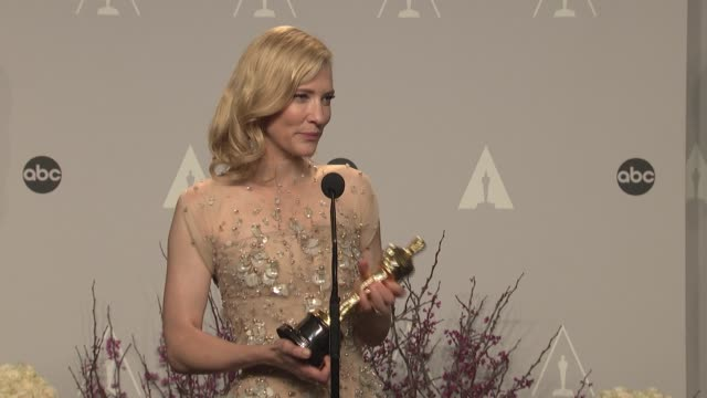 cate blanchett - 86th annual academy awards - press room at hollywood & highland center on march 02, 2014 in hollywood, california. - ケイト・ブランシェット点の映像素材/bロール