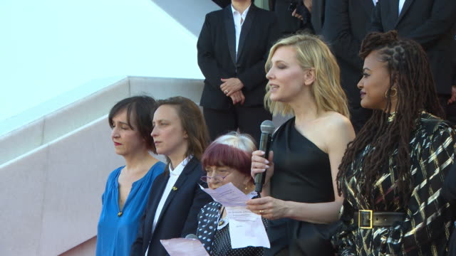 speech cate blanchett agnes varda at 82 women walk the red carpet 'girls of the sun' red carpet arrivals the 71st cannes film festival at grand... - international cannes film festival stock videos & royalty-free footage