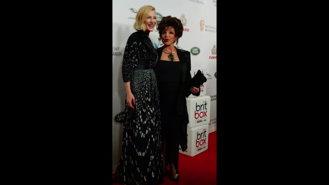 cate blanchett and dame joan collins attend the 2018 british academy britannia awards presented by jaguar land rover and american airlines at the... - the beverly hilton hotel stock videos & royalty-free footage