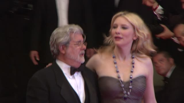 Cate Blanchett and George Lucas at the Indiana Jones and the Kingdom of the Crystal Skull in Cannes on May 20 2008
