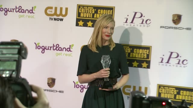 Cate Blanchett at 19th Annual Critics' Choice Movie Awards Press Room at The Barker Hanger on in Santa Monica California