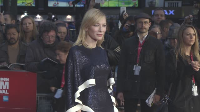 cate blanchett at 'carol' american express gala 59th bfi london film festival at odeon leicester square on october 14, 2015 in london, england. - 2015 stock videos & royalty-free footage