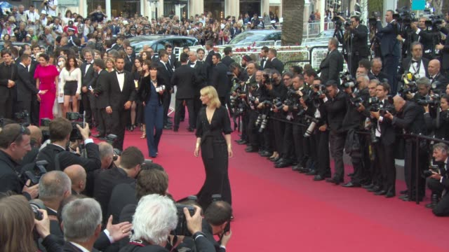 cate blanchett at 'sicario' red carpet on may 19, 2015 in cannes, france. - ケイト・ブランシェット点の映像素材/bロール