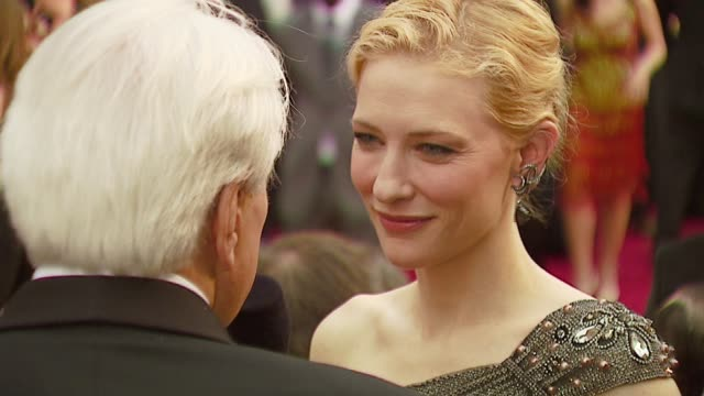 cate blanchett at the 2007 academy awards arrivals at the kodak theatre in hollywood, california on february 25, 2007. - 後ろで束ねた髪点の映像素材/bロール