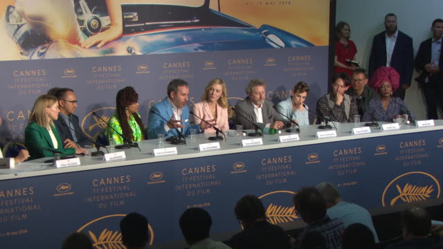cate blanchett, denis villeneuve, kristen stewart, ava duvernay on the importance of cinema at jury press conference - the 71st annual cannes film... - 71st international cannes film festival stock videos & royalty-free footage