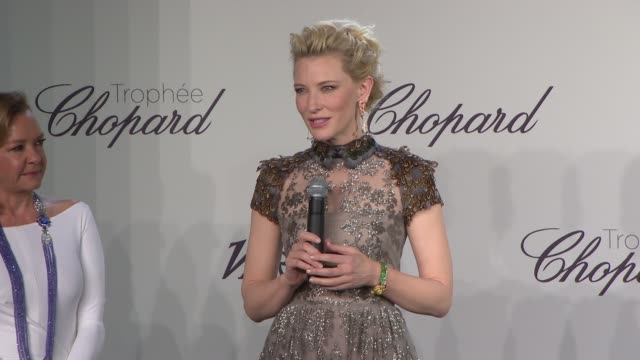vídeos de stock, filmes e b-roll de cate blanchett introduces the chopard trophy winners at chopard trophy party at martinez hotel on may 15, 2014 in cannes, france. - cannes