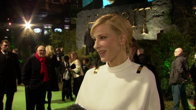 cate blanchett on being at the premiere, meeting the royals, meeting up with the cast members at 'the hobbit' uk premiere and royal film performance... - the hobbit stock videos & royalty-free footage