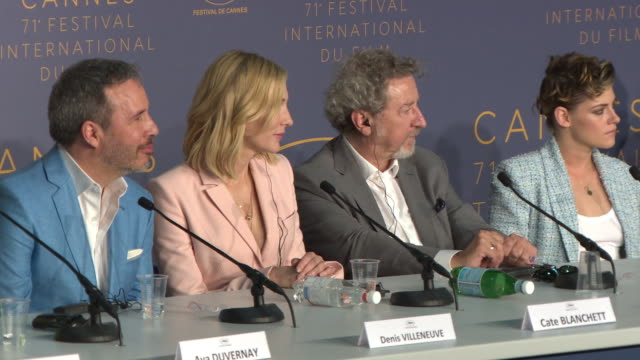cate blanchett on the female influence of the jury. denis villeneuve, cate blanchett on if the 'me too' movement is changing the film industry at... - 第71回カンヌ国際映画祭点の映像素材/bロール