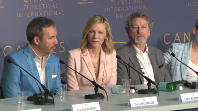 cate blanchett on women directors in competition at jury press conference - the 71st annual cannes film festival on may 8, 2018 in cannes, france. - ケイト・ブランシェット点の映像素材/bロール
