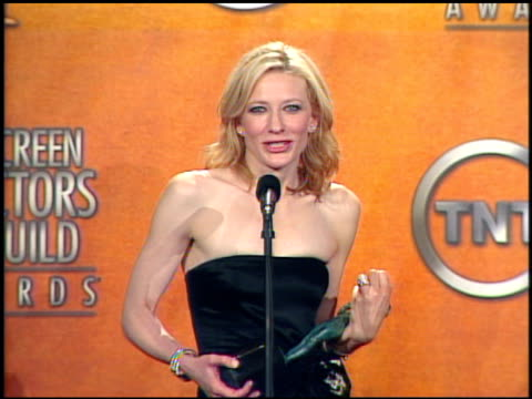 Cate Blanchett winner for Outstanding Female Actor in a Supporting Role in a motion pictuer for 'The Aviator' at the 2005 Screen Actors Guild SAG...