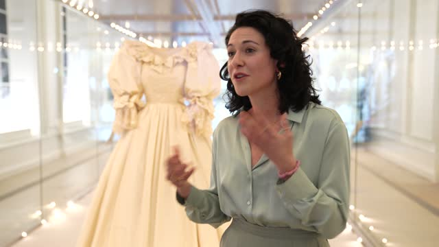 """caterina berni, interpretation manager for the """"royal style in the making"""" exhibition at kensington palace, on the growth of public polarity around... - british royalty stock videos & royalty-free footage"""