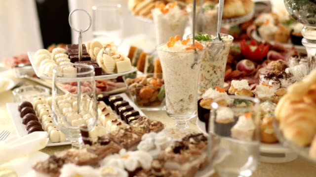 catering buffet table - french food stock videos & royalty-free footage