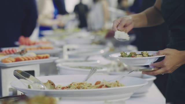 catering food in wedding reception - mensa video stock e b–roll